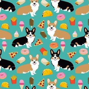 corgi junk food fabric cute corgis and junk food, pizza, ice cream fries, donuts etc. cute dogs designs