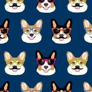 corgi dog fabric cute mustache and dogs fabric glasses dogs fabric
