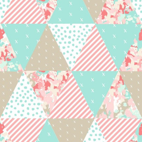 triangle quilt nursery baby coral mint khaki abstract cute baby blanket cheater quilt