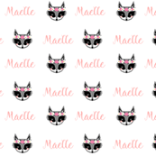 girls raccoon personalized baby fabric , personalized baby, name fabric,  cute fabric, best custom fabric, custom name fabric,