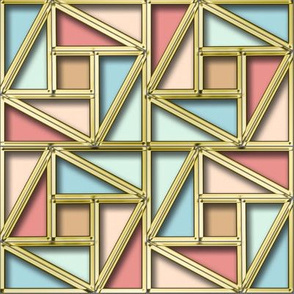 Pythagorean Frames with pastel Blue Pink and fake gold