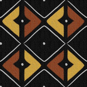 Mudcloth Inspired Dotted Counterchanged Diamonds Railroaded