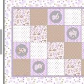DIY  Safari  Baby Girl Purple & Grey 6 piece Baby Shower Gift Set Panel quilt, Pillow, Bibs and Rattle