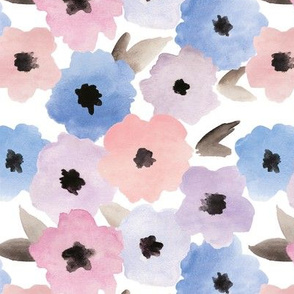 Serene Blossoms Watercolor Floral