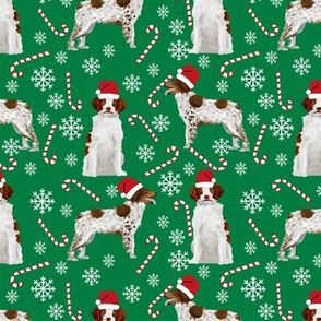 brittany spaniel christmas santa paws fabric candy cane peppermint stick snowflakes cute christmas dogs