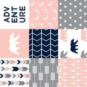adventure woodland wholecloth (90) || navy&pink