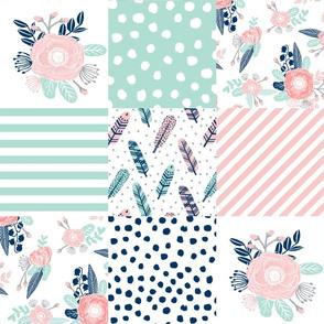 feathers cheater quilt mint navy pink girls cheater quilt design cute girls fabrics
