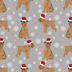 brussels griffon santa paws christmas dog fabric candy cane peppermint stick snowflakes christmas holiday dogs fabric