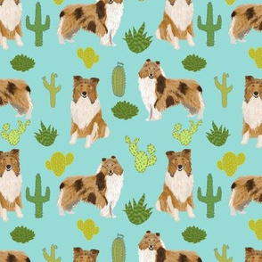 rough collie cactus fabric cute dogs pet dog cacti fabric best collie fabric for sewing projects