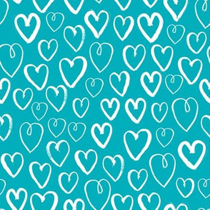 hearts // valentines turquoise hearts fabric heart design cute love hearts blue valentines fabric