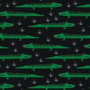 crocodiles // black and green alligator crocodile pattern print fabric andrea lauren fabric reptiles fabric nursery boys animal kids zoo design