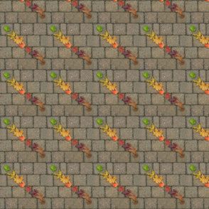 Rainbow Leaves on Brick