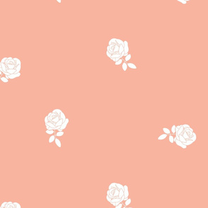 Dainty Floral in White on Pink