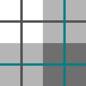 Grey Teal Plaid