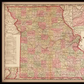 Missouri map, vintage, large