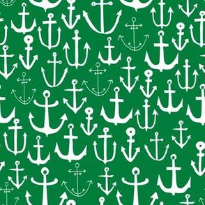 anchor // anchors green nautical fabric print, andrea lauren fabric, nautical summer fabric preppy green fabric
