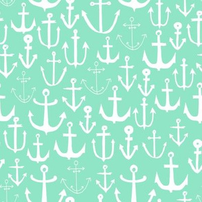 anchors // mint green anchor print fabric, nautical fabric kids nursery decor anchors fabric pattern andrea lauren fabric andrea lauren design