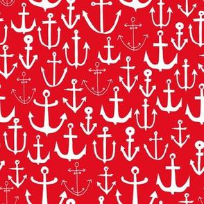anchors // anchor red nautical fabric nautical design pattern anchors fabric nautical red summer fabric