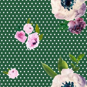 Dark Beauty - White Polka Dots / Green  Background
