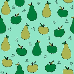 apples and pears // mint cute apples fall autumn fruits fabric mint and green apple fabric