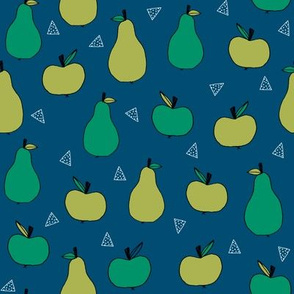 apples and pears // green apple and pears fabric cute fruit illustration orchard design andrea lauren fabric