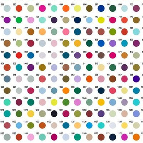 Polka Dot Palette (1200 Colors) || polka dot numbers circles chart pixels