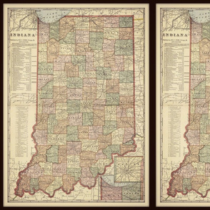 Indiana map, vintage, small
