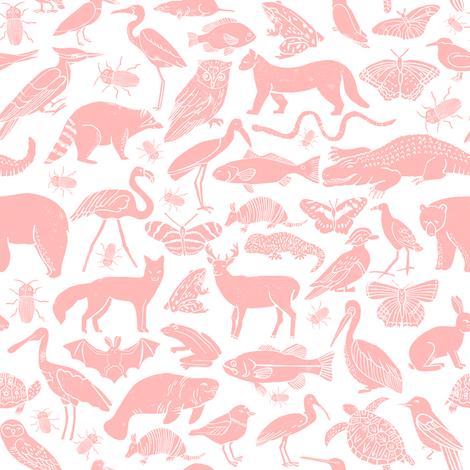 Linocut animals pink animal fabric baby nursery andrea for Pink nursery fabric