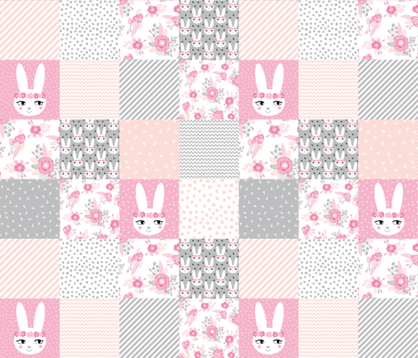 Bunny cheater quilt cute baby girl cheater quilt grey pink for Pink and grey nursery fabric