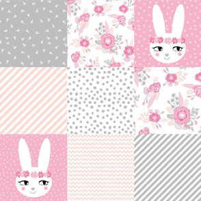 bunny cheater quilt cute baby girl cheater quilt grey pink blush floral nursery baby fabric