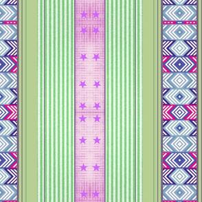 Mint and Lilac fancy stripe