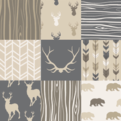 Wholecloth Quilt - Rustic Midnight Woodland Deer-