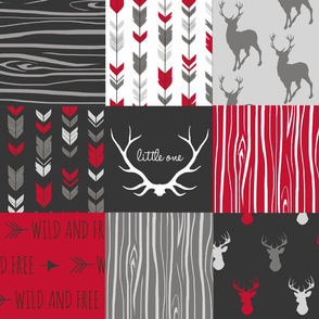 WholeCloth Quilt- red, charcoal ,grey faux quilt with deer, antler, arrows, Woodgrain patchwork squares-ch-ch