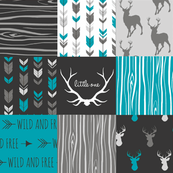 WholeCloth Quilt- Ironwood -teal, charcoal ,grey deer, antler, arrows, Woodgrain patchwork squares-ch-ch-ch