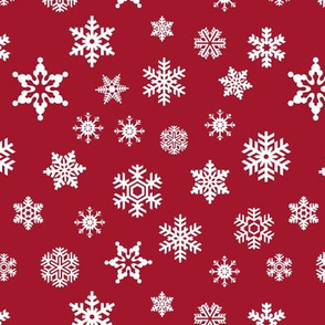 snowflakes on dark red holiday fabric