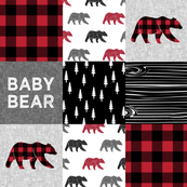 baby bear patchwork quilt top || buffalo plaid
