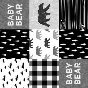 baby bear patchwork quilt top (90) ||  monochrome