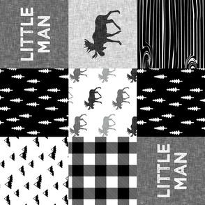 little man patchwork quilt top || monochrome