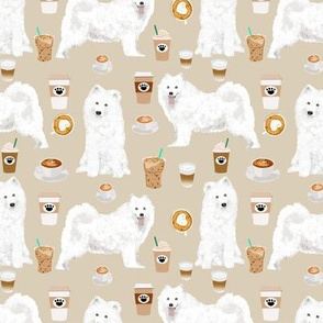 samoyeds coffee fabric white sled dogs sammy fabric samoyeds and coffees fabric cute dog designs