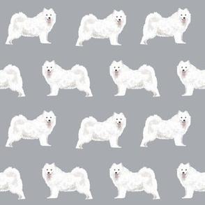 samoyed dogs fabric grey dog design samoyeds sled dogs design