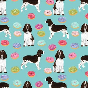 english springer spaniel donuts fabric blue pink pastel dogs english springer spaniels dog design springer spaniels dog