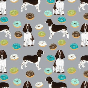 english springer spaniel dog donuts fabric grey food fabric dogs design springer spaniels dog design