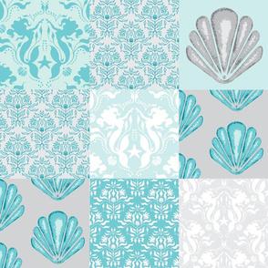 Wholecloth Quilt - Mermaid Lagoon- Aqua and Grey Seashells