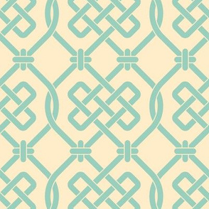Cream and Robins Egg Blue Celtic Knot Lattice