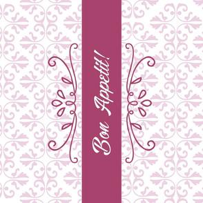 Bon Appetit Damask Tea Towel Pink