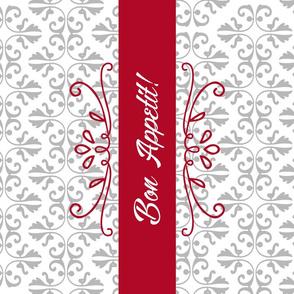 Bon Appetit Damask Tea Towel - Red