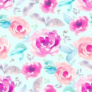 Hand Painted Pink + Mint Watercolor Flowers
