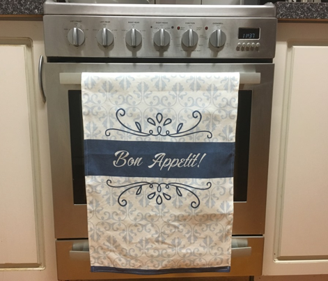 Bon Appetit Damask Tea Towel Cream
