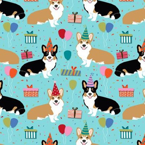 corgi birthday fabric cute presents balloons fabric corgi dogs fabric