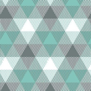triangle gingham - grey and teal